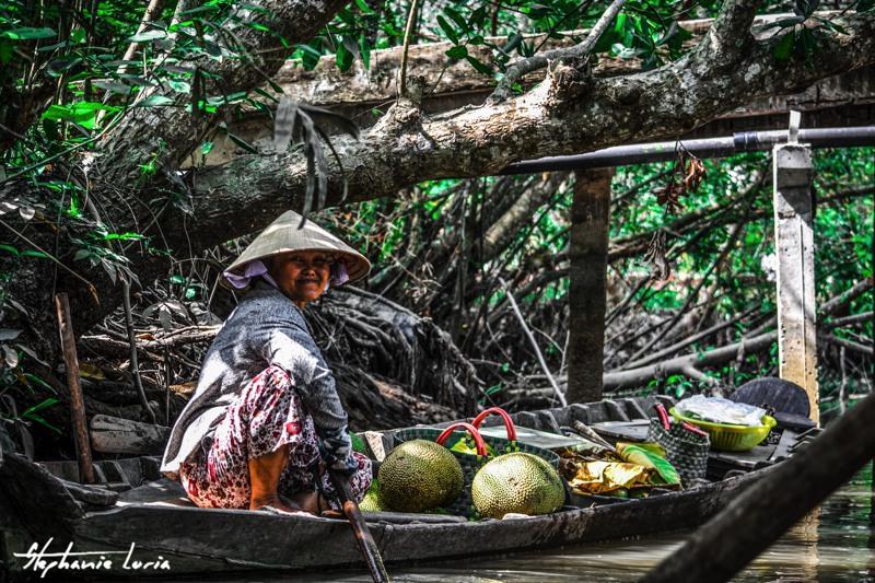 vendeuse de fruits au vietnam dans le delta du mekong