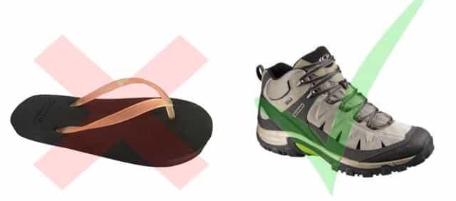 tong vs chaussures de rando